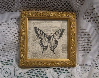 "Butterfly Framed Print on Vintage Dictionary Page - 4 1/4"" x 4 1/4"""