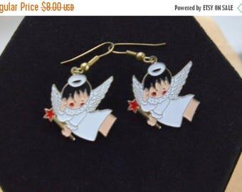 On sale Cute Vintage Enamel Angel Pierced Earrings