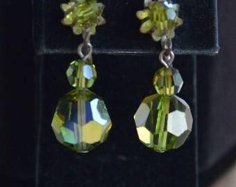 On sale Pretty Vintage Peridot Green Crystal Srewback Earrings, Listing #182