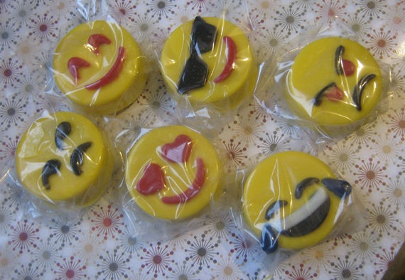 One dozen emoticon chocolate covered sandwich cookies party favors