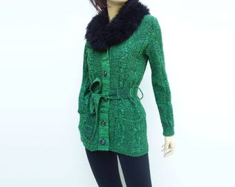 Fur Collar Sweater Vintage 70s Cardigan Faux Fur Collar Belted Cardigan Forest Green Sweater Black Fur Collar Long Green Cardigan s / m