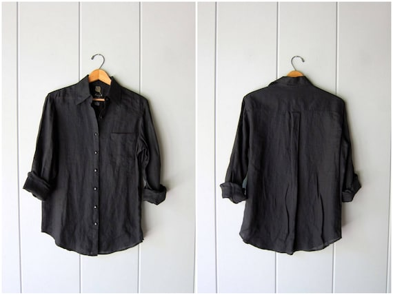 Minimal Black Blouse LINEN Button Up Shirt 90s Sheer Black Blouse Vintage Long Sleeve Top Slouchy Linen Simple Modern Shirt Womens Small