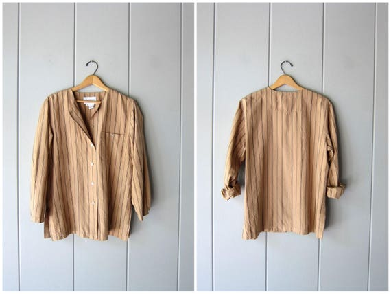 Minimal Silk Blouse Striped Beige Slouchy Blouse Collarless Modern Silk Top Long Sleeve Casual Blouse Button Down Silk Womens Medium Large