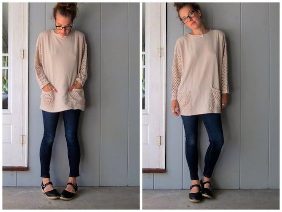 Oversized 80s Beige Tunic Top Sweater CUT WORK Sleeves Crochet Pockets Cotton Rib Mini Dress Long Sweater Top Boho Minimal Vintage Womens XL