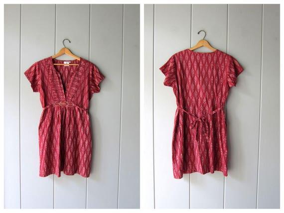 Dark Pink Cotton Tunic Top Vintage 90s THIN Batik Ikat Print Minimal Shirt Short Sleeve Ethnic Modern Mini Dress w/ Pockets Womens Large