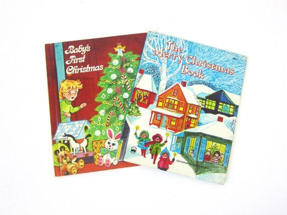 Vintage Children's Books Baby's First Christmas & The Merry Christmas Book Paper Ephemera Children's Illustrations 50s Wonder Books Decor