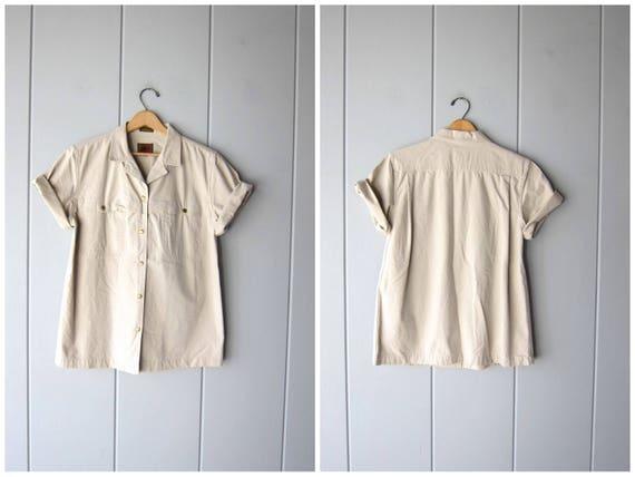 Oversized 80s Shirt Beige Safari Snap Up TShirt Desert Style Slouchy Cotton Minimal Short Sleeve Hipster Shirt Tee Vintage Womens 12 Large