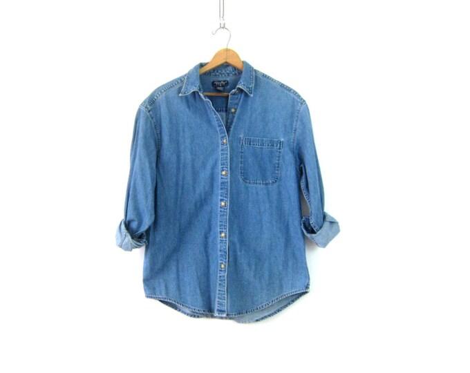 Vintage Jean shirt Worn In button down Oversized Denim Boyfriend Shirt 90s Women's Preppy Eddie Bauer Work Shirt Size Large