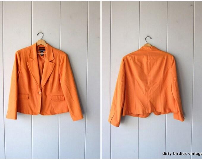 Spring Tangerine Blazer Oversized Minimal 90s Orange Cotton Jacket  Modern Stitched Jacket Womens Large XL