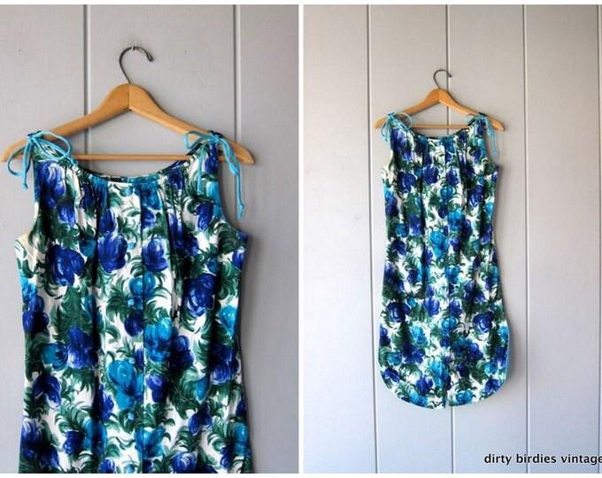 60s Floral Hawaiian Dress Vintage Flower Print Hawaii Dress Retro Blue White Sundress Resort Wear Vacation Dress Knot Buttons Womens Small