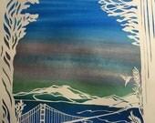 Twilight over the Mountains beyond the Golden Gate Bridge- papercut ketubah