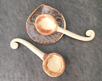 Ceramic Spoons Set with Spoon Rest Small Dish. Two Serving Spoons with Spoon Rest