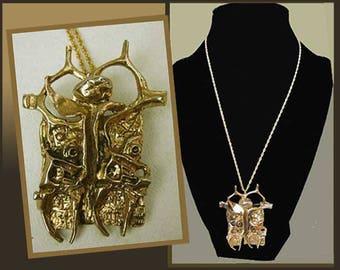 Prisoner of CONSCIENCE, Brutalist Bronze Pendant Brooch, Yigal Tumarkin, Israeli Artist Jewelry, Modernist Necklace, Vintage Jewelry, Unisex