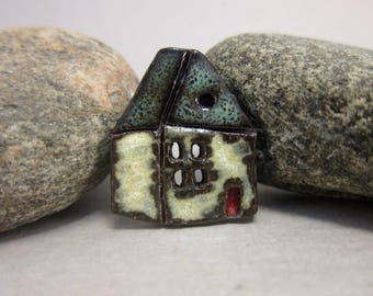 Rustic Ceramic House Button...English Cottage...Nightsky Blue Roof