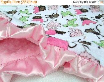 SALE Minky Baby Blanket in Pink and Brown Jungle Print, Woodland Print, Animal Print, for girlCan Be Personalized