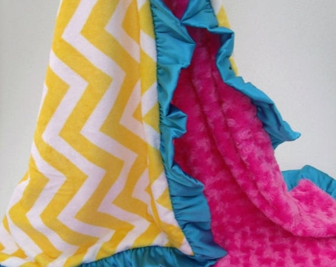 SALE Saffron Yellow Chevron with Aqua and Pink Minky Baby Blanket with Satin Ruffle Can Be Personalized