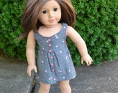 18 inch Doll Clothes - Surfrider Dress - Cherries Jubliee - PINK GREY GREEN - fits American Girl