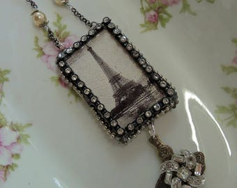 Soldered Assemblage Necklace - Rainy Day In Paris City Of Lights