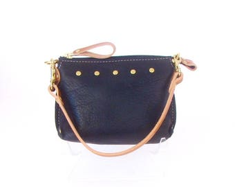 Black Leather Mini Bag ~ Black Leather Wristlet