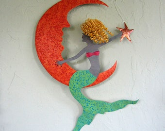 Metal Wall Art Mermaid Sculpture, Coastal Beach Wall Decor Mermaid and Moon Wall Art Terracotta Turquoise Green Blonde Mermaid 17 x 25
