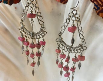 Long Pink Magnesite Boho Dangle Pierced Earrings