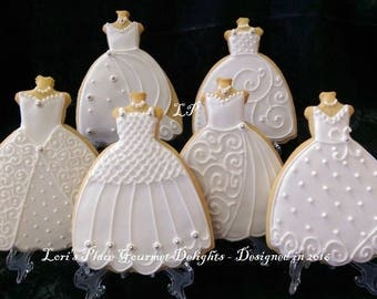 Wedding Gown Cookies - Wedding Dress Cookies - #3 ---6.00 each