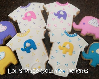 Elephant Baby Shower Cookies - 16 Cookies