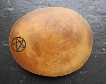Natural Wood Talisman or Altar Plaque - Holly - Honour the Divine Masculine.