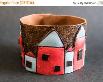 40% OFF SALE Leather wide black cuff bracelet Jewelry Wristband Casual Colorful houses