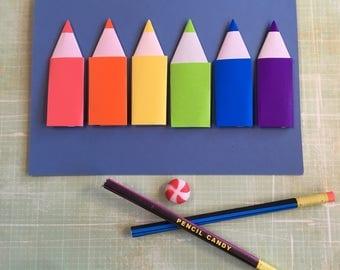 Origami large greeting card - rainbow pencils on blue