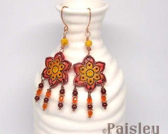 Boho Red Flower Chandelier Earrings, polymer clay flower earrings with glass beaded dangles on copper ear wires