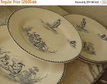 "christmasinjuly Set of 6 Antique FRENCH Plates TENIERS Terre Defer ..8 "" across"