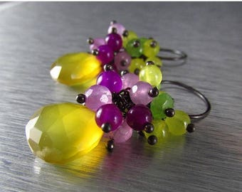 25 OFF Colorful Neon Gemstone Cluster earrings, Yellow Chalcedony Earrings