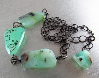 25 OFF Chunky Blue Peruvian Opal Necklace With Oxidized Sterling Silver