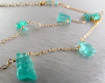 25 OFF Apatite Nugget and Gold Filled Necklace