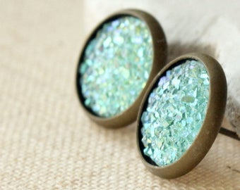 Mint green Druzy Earrings STUDS or CLIPS, Lightweight Druzy Post, frosted, 12mm fake plugs, Resin Faux Drusy E16
