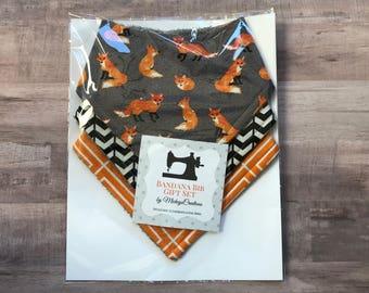 Fox Herringbone Chevron Bandana Bib Set - gray orange black - Boy - Baby Bib Set - Gift Set - Shower Gift - New Baby - Fox - Woodland