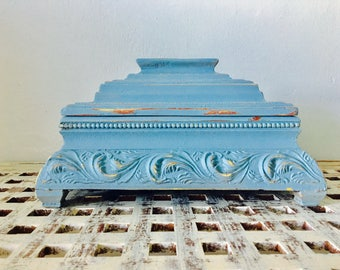 vintage french provincial hand painted and distressed ornate details storage box or jewelry box