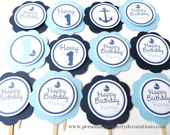 Nautical Birthday Decorations, 1st Birthday Party Decorations, Nautical Cupcake Toppers, Nautical Birthday Party, Choose Colors & Sayings