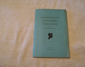 Original 1959 edition Cosmetologists state board exam review multiple choice book