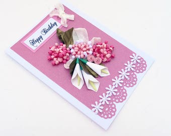 Paper Quilling White Lilies, Free Shipping, Quilled Pink Roses, Birthday,Mom Floral Art, Gold Leaves,pink roses,Thinking Of You,Sister, OOAK