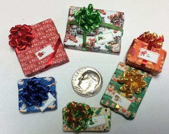 Six Assorted Miniature Christmas Packages set #205