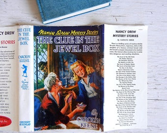 1943 Nancy Drew Book #20 | The Clue in the Jewel Box | Dust Jacket | Digger Endpapers | Carolyn Keene | Tweed Cover