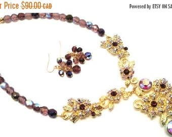 ON SALE Purple Gold Jewel Necklace and Earring Set
