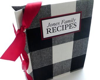 Recipe Book / Personalized Recipe Book / Gingham recipe book / Checker Recipe book / Cookbook / Mother's Day - choose your ribbon