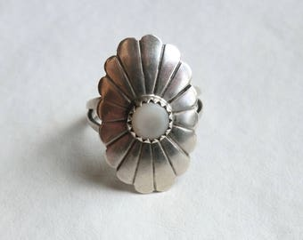 Vintage Southwest Sterling Mother of Pearl Ring Size 6 3/4