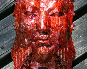 Khan - Fantasy origami sculpture with red enamel