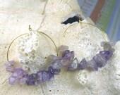 70% SALE Amethyst chips on gold metal hoop earrings - genuine amethyst chips