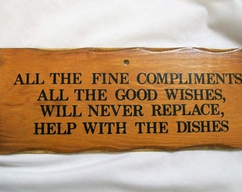 kitchen Wall Hanging, Wood Plaque, Help with the dishes, funny kitchen plaque, vintage plaque, wooden plaque, kitchen decor