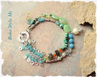 Boho Layered Bracelet, Hand Crafted Boho Southwest Jewelry, Colorful Multi Gemstone Bracelet, Boho Style Me, Kaye Kraus